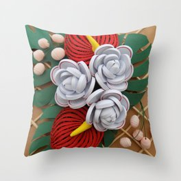 Anthurium Rose Flowers Paper Quilling Throw Pillow