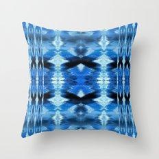 Watercolor Ikat Blue Borders Throw Pillow