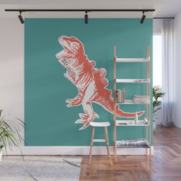 Dino Pop Art - T-Rex - Teal & Dark Orange Wall Mural