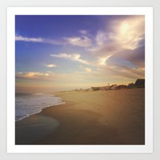 sunset on the shore Art Print