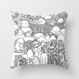 Oodles of Doodles of Singapore (White) Throw Pillow