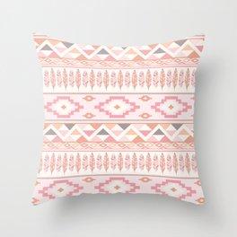 Pink Boho Tribal Aztec Throw Pillow