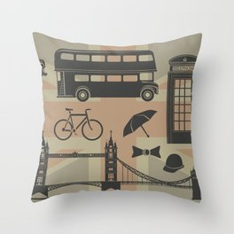 vector set of London landmarks Britain symbols isolated Throw Pillow