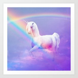 Unicorn and Rainbow Art Print
