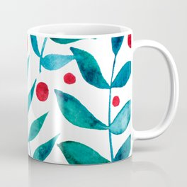 Watercolor berries and branches - turquoise and red Coffee Mug