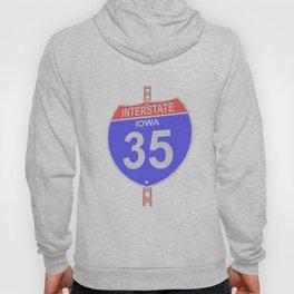 Interstate highway 35 road sign in Iowa Hoody