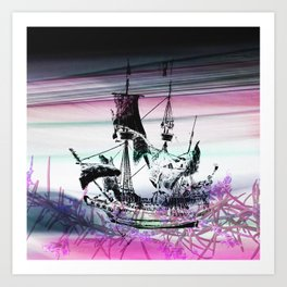 Ghost Ship Sailing Floral Waves Art Print