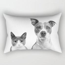 Cute Kitty Cat And Puppy Portrait Art Print, Cat And Dog Animal Nursery, Baby Animals Wall Art Decor Rectangular Pillow