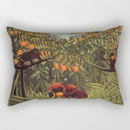 Apes in the Orange Grove by Henri Rousseau 1910 // Colorful Jungle Animal Landscape Scene Rectangular Pillow