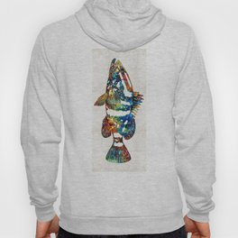 Colorful Grouper 2 Art Fish by Sharon Cummings Hoody