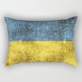 Vintage Aged and Scratched Ukrainian Flag Rectangular Pillow