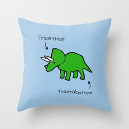 Triceratops Tricerabottom Throw Pillow