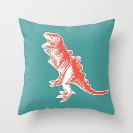 Dino Pop Art - T-Rex - Teal & Dark Orange Throw Pillow