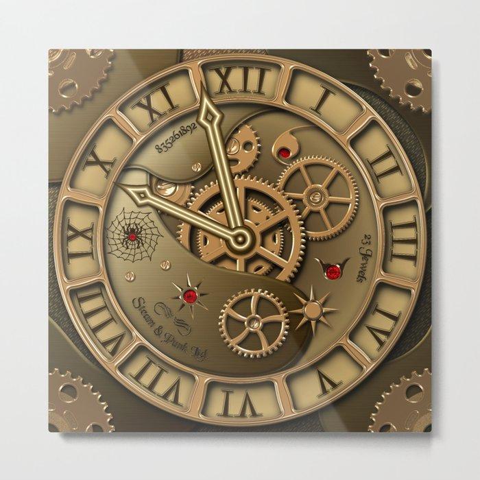 Steampunk clock gold Metal Print