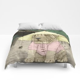 Shar Pei on the Great Wall (China) Comforters