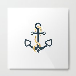 Anchor Ahoi Sailorboat marina Metal Print