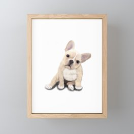 Cream Frenchie Framed Mini Art Print