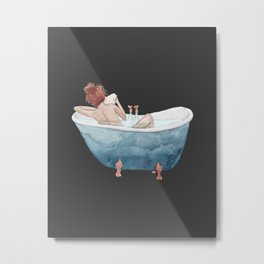 Bathtub Readings Black Metal Print