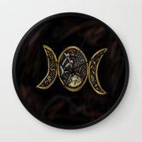 steam punk Wall Clocks featuring steam punk goddess  by Shonda Robb