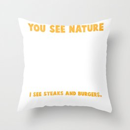 Deer Hunter Burger Sausage BBQ Steaks Throw Pillow