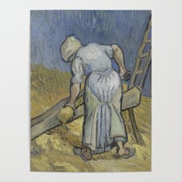 Peasant Woman Bruising Flax (after Millet) Poster