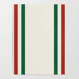 Rustic Lodge Stripes Black Yellow Red Green Poster