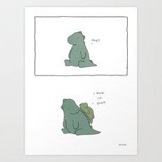Do not attempt to slide down dinosaur Art Print