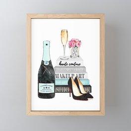 Champagne, Teal, books, shoes, peonies, Peony, Fashion illustration, Fashion, Amanda Greenwood, gift Framed Mini Art Print