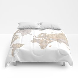 "World map in gray and brown watercolor ""Abey"" Comforters"
