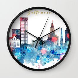 Watercolor Baltimore skyline design Wall Clock