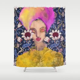 Enchanted Garden Romantic Floral Art Nouveau Watercolor Portrait Shower Curtain