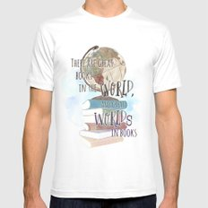THERE ARE GREAT BOOKS IN THE WORLD White Mens Fitted Tee LARGE
