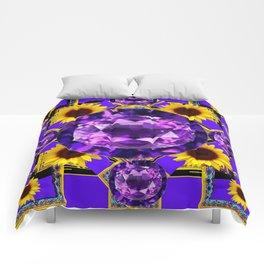 WESTERN AMETHYST GEMS PURPLE SUNFLOWER ART Comforters