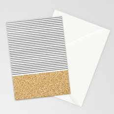 Minimal Gold Glitter Stripes Stationery Cards