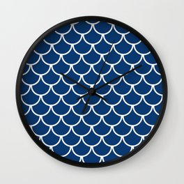 Navy Blue Fish Scales Pattern Wall Clock