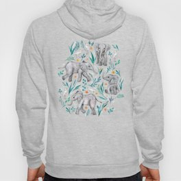 Baby Elephants and Egrets in Watercolor - egg shell blue Hoody