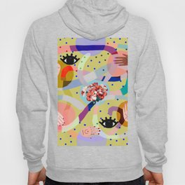 abstract evil eye , female hands, dots, love, flowers Hoody