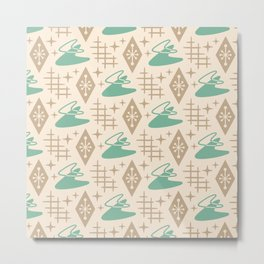 Mid Century Modern Space age Boomerang Pattern 454 Green and Beige Metal Print