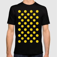 Polka Dots (Gold/White) Mens Fitted Tee Black MEDIUM