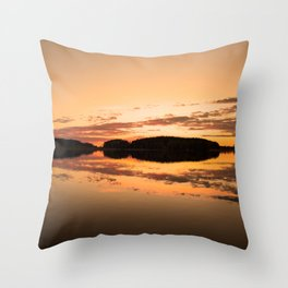 Beautiful sunset - glowing orange - forest silhouette and reflection Throw Pillow