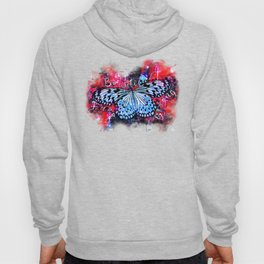 butterfly beautiful strong free splatter watercolor blue red Hoody