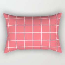 Coral Red Grid Rectangular Pillow