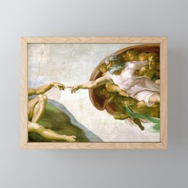 The Creation of Adam Painting by Michelangelo Sistine Chapel Framed Mini Art Print