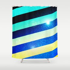 Striped Colorful Glitter Shower Curtain