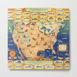 Game Fish Cyclopedia of America Illustrated Map Metal Print