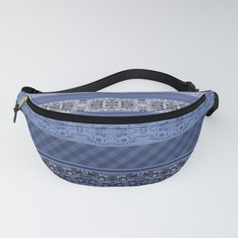 Blue striped patchwork Fanny Pack