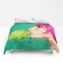 Bubble gum girl Comforters