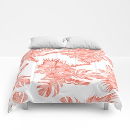 Tropical Palm Leaves Hibiscus Flowers Deep Coral Comforters