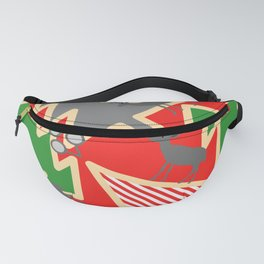 Retro deer and Christmas trees Fanny Pack