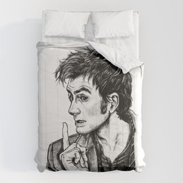 """The Doctor - David Tennant - """"Fingers on Lips!"""" Comforters"""